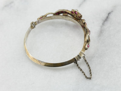 Red Ruby Glass Sri Lankan Bangle Bracelet in Silver with Gold Gilt