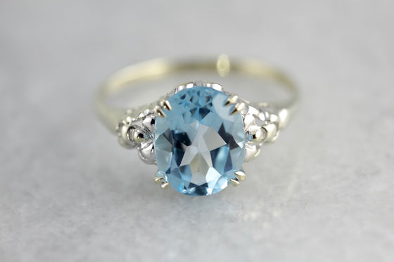 Baby Boy Blue Iris, Topaz Floral Cocktail Ring By Elizabeth Henry
