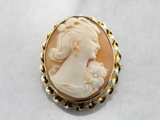 Vintage Shell Cameo Pin or Pendant with Rope Frame in Yellow Gold