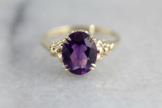 Amethyst Iris, Floral Cocktail Ring From The Elizabeth Henry Collection