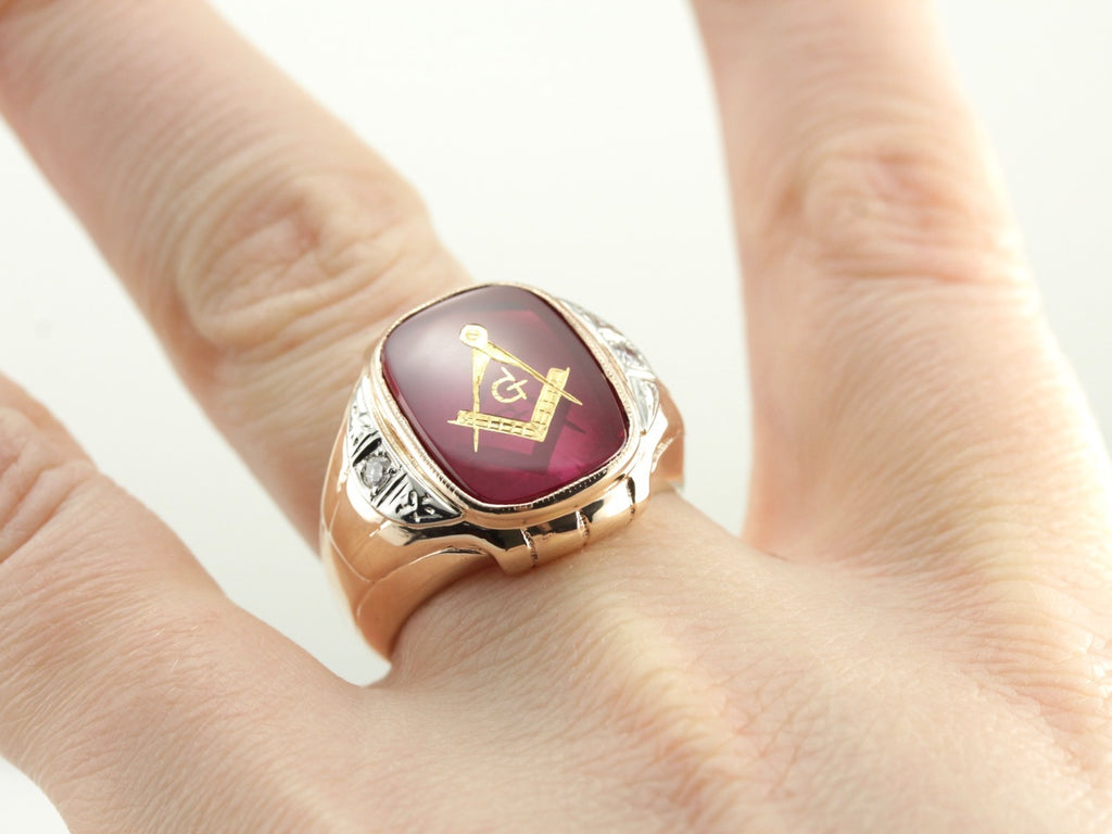 Bold Ruby Red Glass Masonic Ring with Diamond Accented Shoulders, Men's Fraternal Ring
