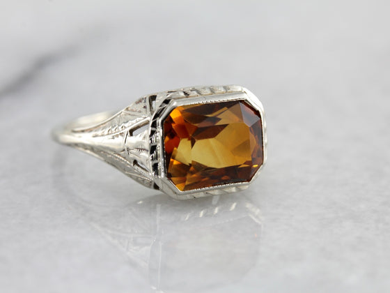 Art Deco Era Citrine Cocktail Ring in White Gold