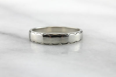 Scalloped White Gold Band