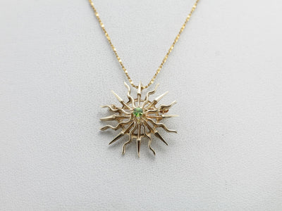 Demantoid Garnet Sunburst, Radiant Sun Pin or Pendant in Yellow Gold