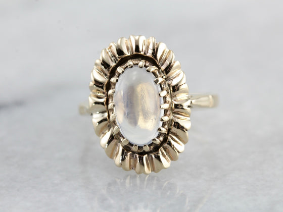 Blue Flash Moonstone Cocktail Ring