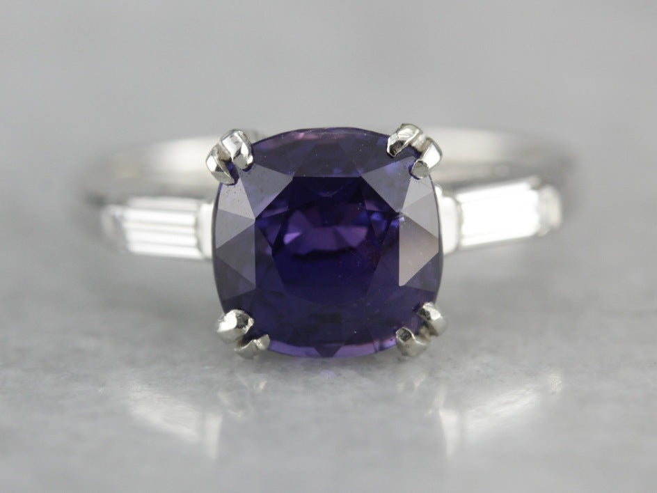 Rare Imperial Purple Ceylon Sapphire & Refined Platinum Engagement Ring
