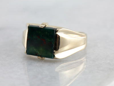 March Birthstone, Men's Vintage Bloodstone Ring from the Retro Era