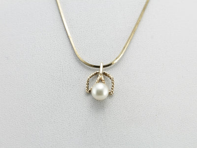 White Pearl Layering Pendant in Yellow Gold, Sweet Flower Pendant