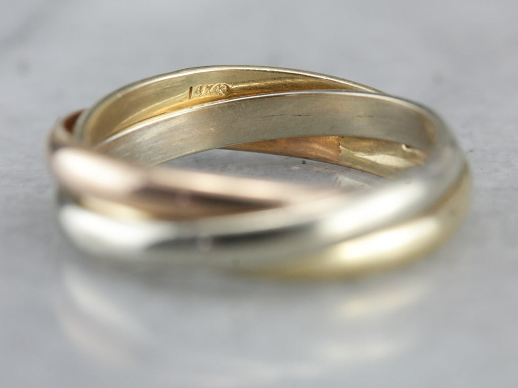 Three Band Rolling Ring, Rose, White and Yellow Gold