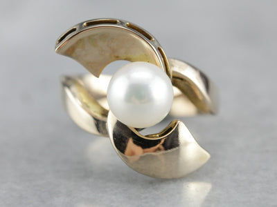 Vintage Fine Pearl Gold Statement Ring