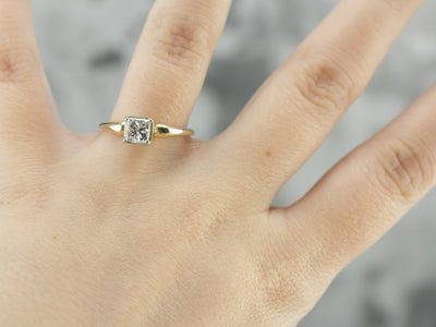 Modern Square Cut Diamond in Vintage Engagement Ring