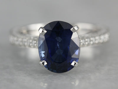 Luxurious Sapphire and Diamond Engagement Ring in Platinum