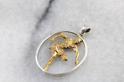 Golden Olympian Athlete Pendant for Him or Her, Hurdles Event