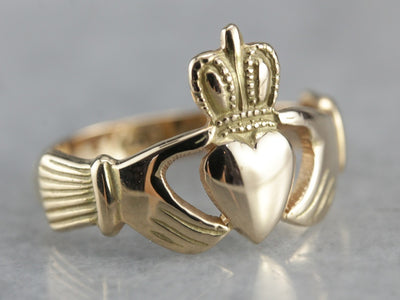 Vintage Claddagh Ring in Warm Gold with Original Hallmarks