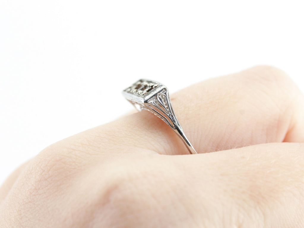 The Claudette Semi-Mount Three Stone Ring by Elizabeth Henry