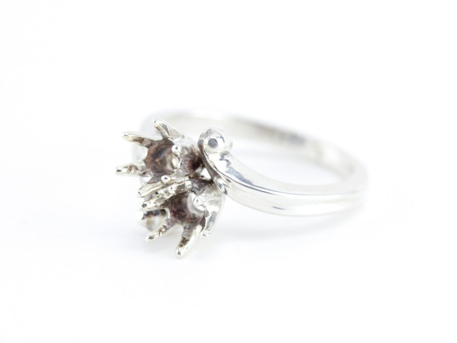 The Fleur Six Prong Bypass Semi-Mount Ring by Elizabeth Henry
