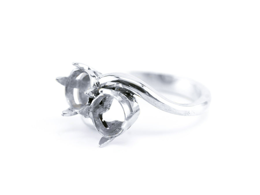 The Noelle Four Prong Semi-Mount Bypass Ring by Elizabeth Henry
