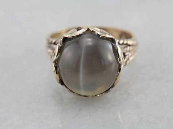 Sillimanite Cat's Eye Cocktail Ring in Yellow Gold, Nautical Solitaire