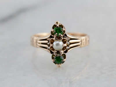 Victorian Pearl and Demantoid Garnet Dinner Ring in Rose Gold, Lovely Antique