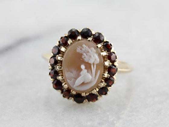 Beautiful Cameo and Garnet Halo Ring, Yellow Gold Vintage Ladies Ring