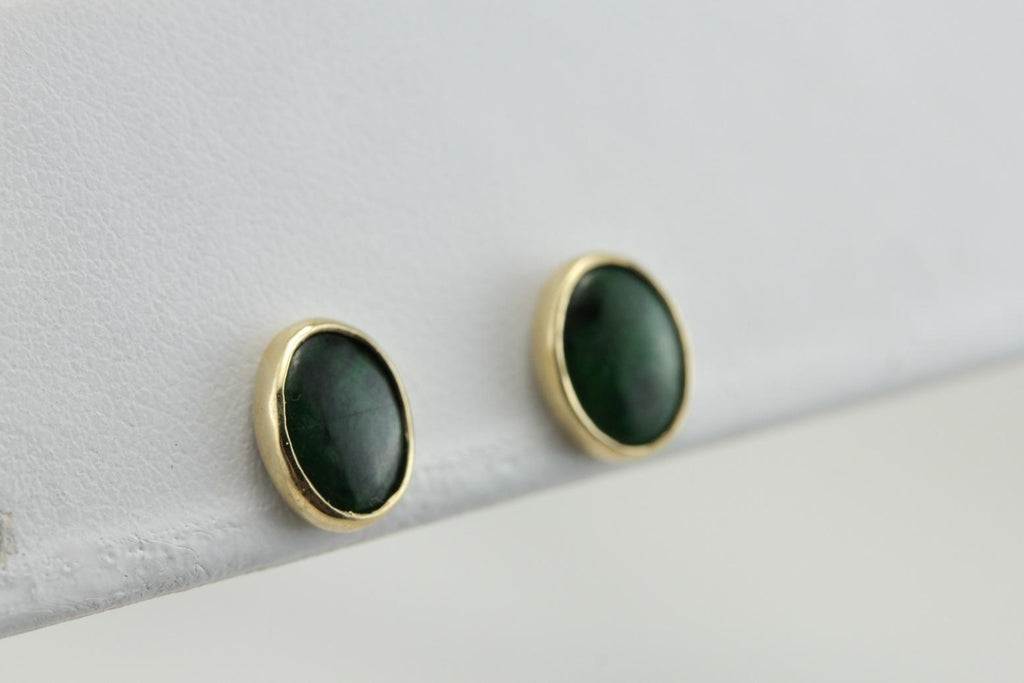 Bezel Set Oval Jade Stud Earrings