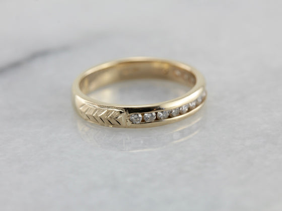 Diamond Wedding Band with Engraved Shoulders