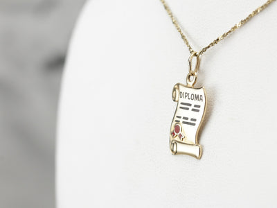 Happy Graduation, Vintage Diploma Charm in Yellow Gold