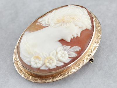 Antique Cameo Gold Brooch