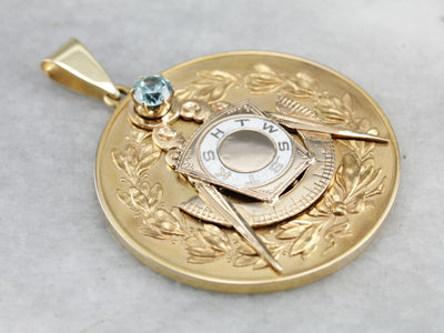 One of a Kind Solid Gold Masonic Medallion with Blue Zircon