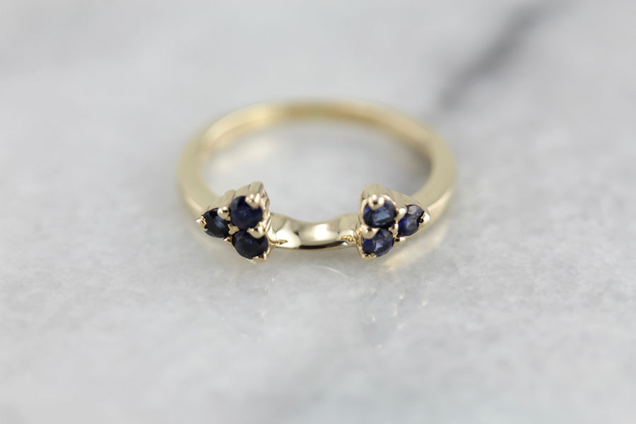 Sapphire Guard Band or Solitaire Enhancer, Deep Midnight Blue Stones