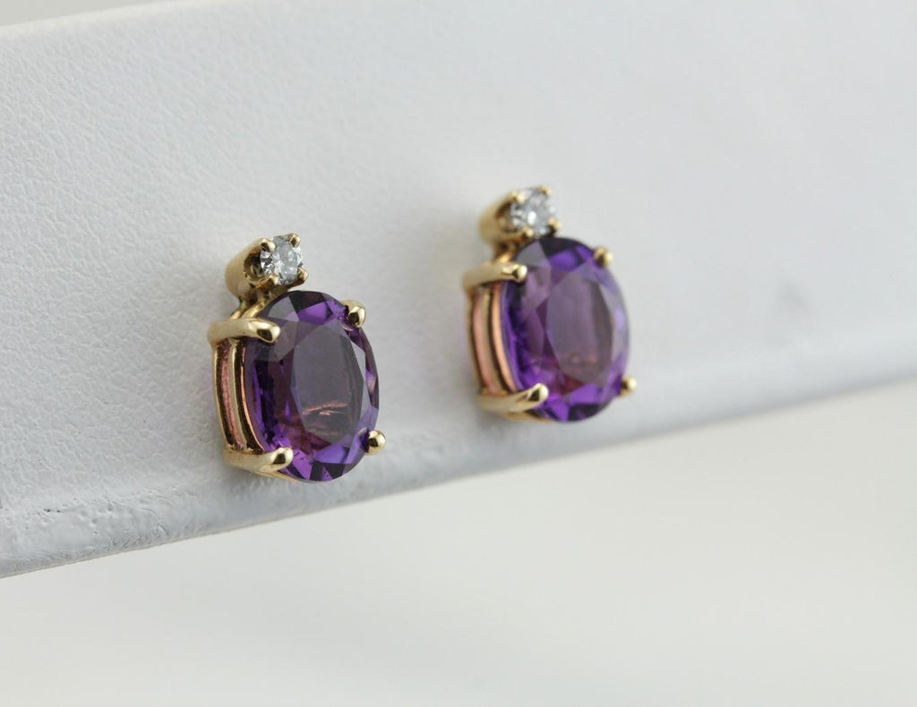 Plum Purple Amethyst and Diamond Stud Earrings