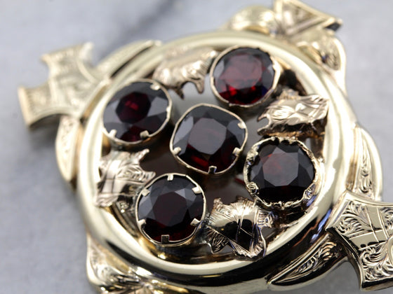 Antique Victorian Garnet Cluster Brooch in Yellow Gold