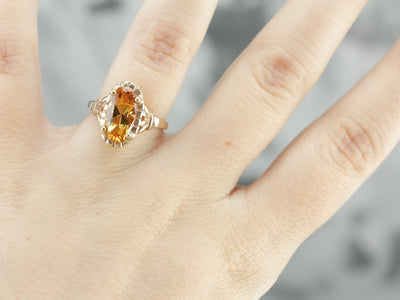 Sunshine Citrine Cocktail Ring in Vintage Setting