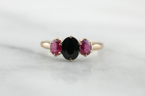 All About Color: Three Stone, Sapphire and Ruby Ring