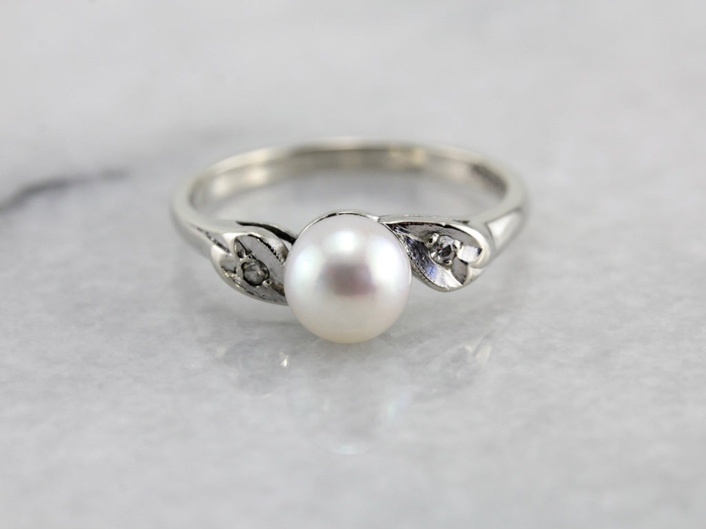 Vintage Pearl Ring in White Gold, Diamond Accented Shoulders