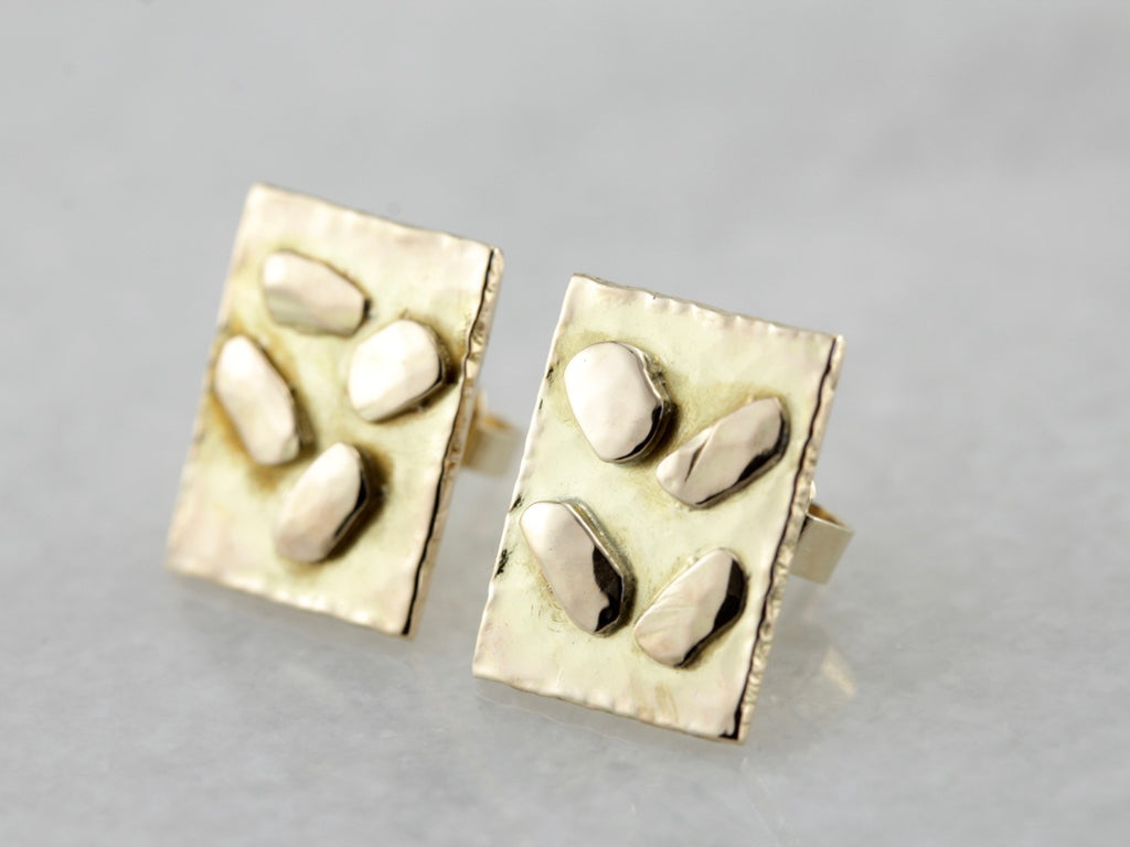Abstract Gold Earrings, Stud Earrings with Hammered Gold Nuggets in Rectangle Frame