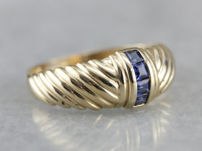 Sapphire Channel Set Gold Dome Band Ring