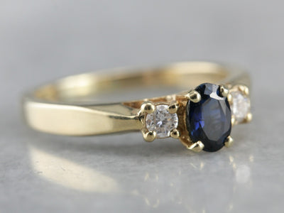 Classic Sapphire Diamond Gold Engagement Ring