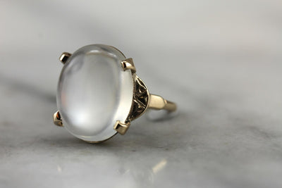 A Waning Moon: Moonstone Vintage Cocktail Ring