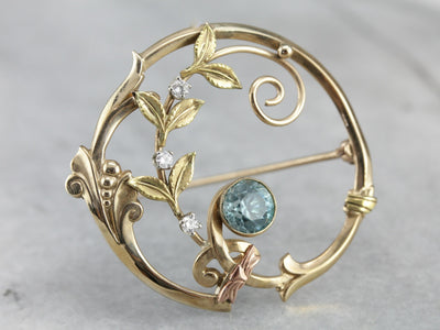 Vintage Blue Zircon Wreath Pin with Diamond Accents