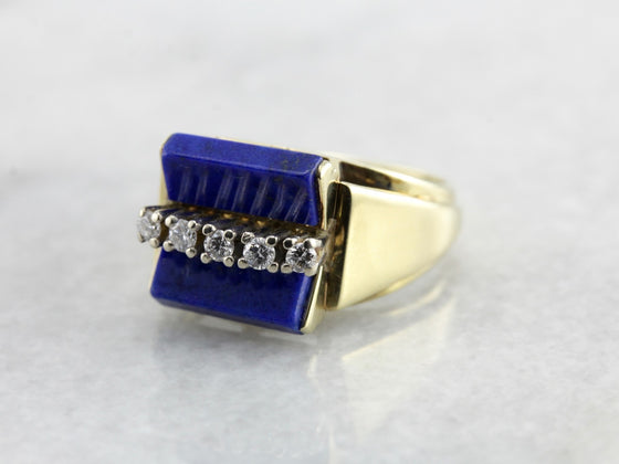 Funky Mod Lapis And Diamond Statement Ring in Two Tone Gold