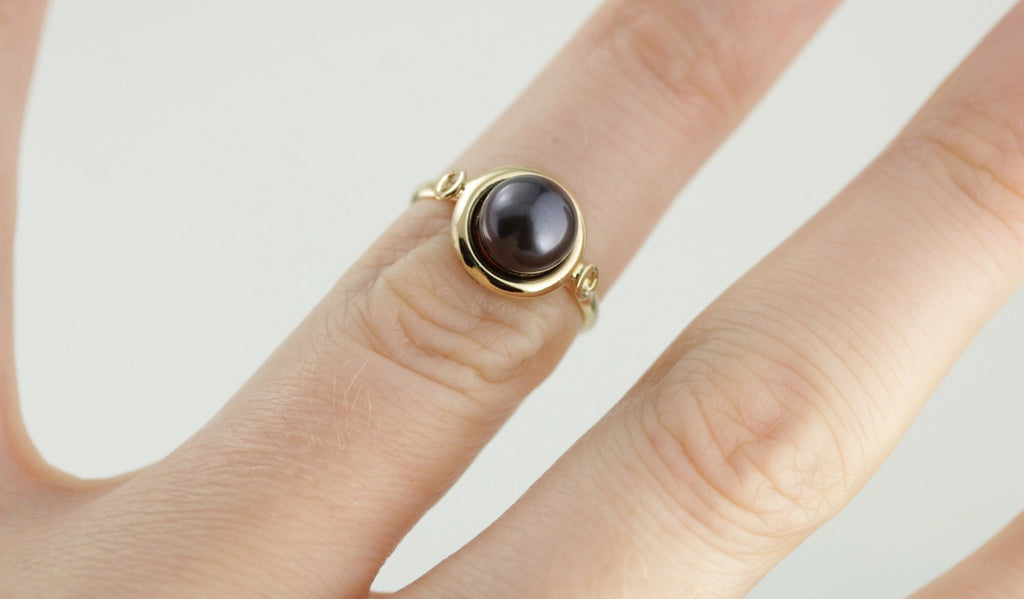 Jet Black Pearl Solitaire Cocktail Ring in Yellow Gold