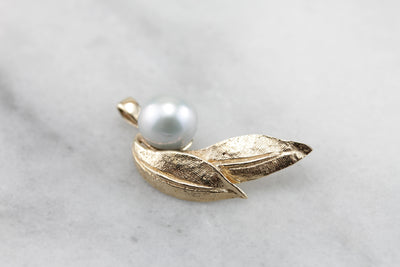 Autumns Windfall: Pale Grey Pearl and Etched Leaf Pendant