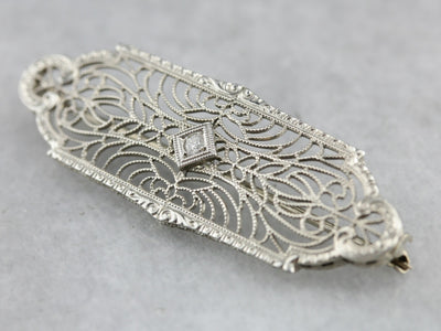 Art Deco Diamond White Gold Lace Filigree Pin