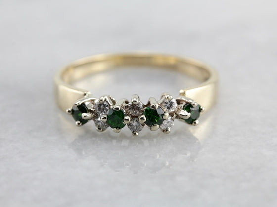 Vintage Demantoid Garnet and Diamond Band in Yellow Gold
