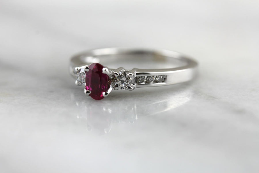 Fresh Ruby Red and Diamond Engagement Ring