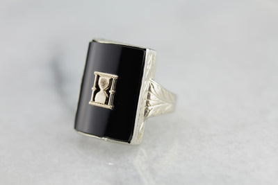 Black Onyx Hour Glass Ring with Art Deco Etchingsg