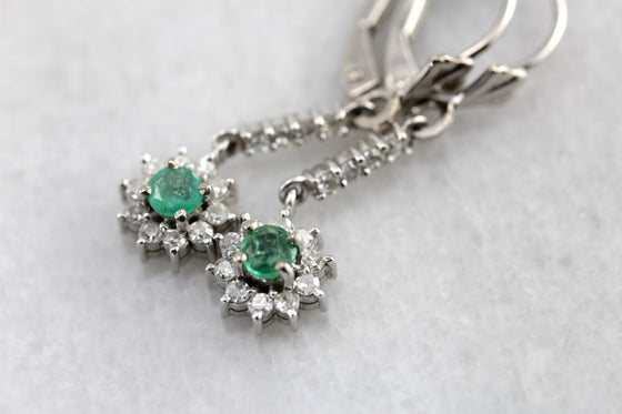 Emerald and Diamond Floral White Gold Drop Earrings