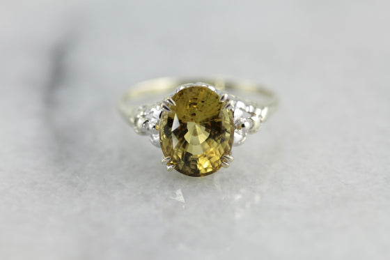 Earthy Iris, Golden Green Zircon Cocktail Ring from The Elizabeth Henry Collection