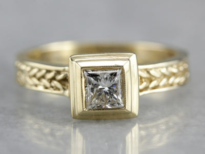 Modernist Contemporary Bezel Set Diamond Engagement Ring
